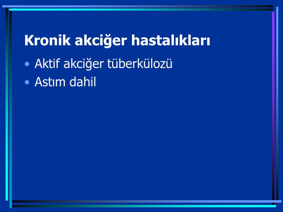 Kronik akciğer hastalıkları Aktif akciğer tüberkülozü Astım dahil
