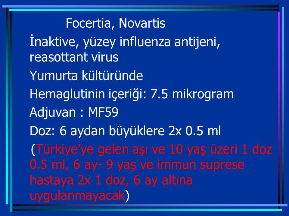 Focertia, Novartis İnaktive, yüzey influenza antijeni, reasottant virus Yumurta kültüründe Hemaglutinin içeriği: 7.5 mikrogram Adjuvan : MF59 Doz: 6 aydan büyüklere 2x 0.5 ml (Türkiye'ye gelen aşı ve 10 yaş üzeri 1 doz 0.5 ml, 6 ay- 9 yaş ve immun suprese hastaya 2x 1 doz, 6 ay altına uygulanmayacak)