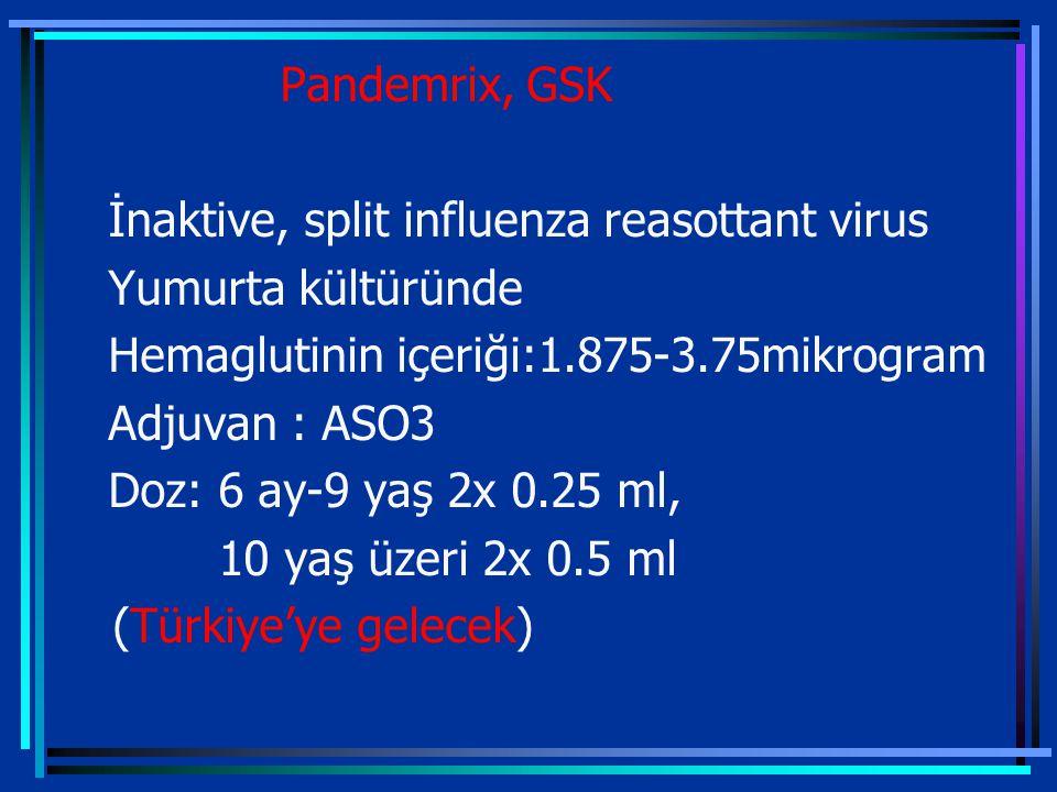 Pandemrix, GSK İnaktive, split influenza reasottant virus Yumurta kültüründe Hemaglutinin içeriği:1.875-3.75mikrogram Adjuvan : ASO3 Doz: 6 ay-9 yaş 2x 0.25 ml, 10 yaş üzeri 2x 0.5 ml (Türkiye'ye gelecek)