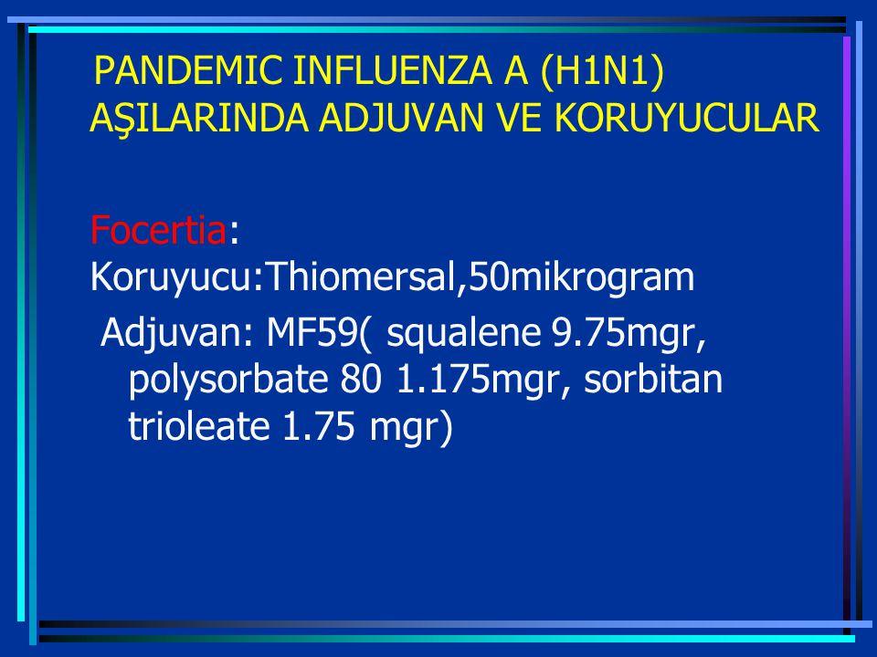 PANDEMIC INFLUENZA A (H1N1) AŞILARINDA ADJUVAN VE KORUYUCULAR Focertia: Koruyucu:Thiomersal,50mikrogram Adjuvan: MF59( squalene 9.75mgr, polysorbate 80 1.175mgr, sorbitan trioleate 1.75 mgr)