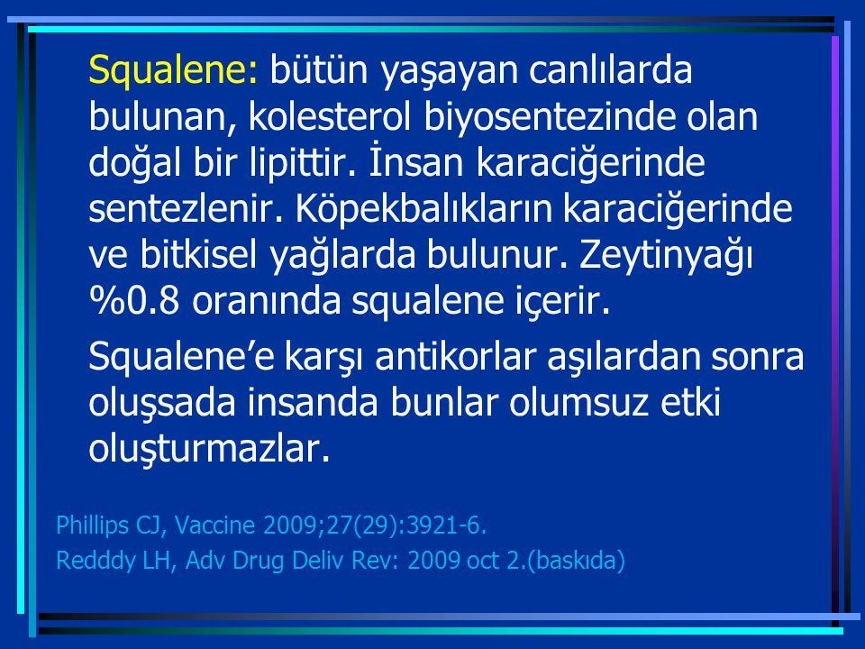 Squalene: bütün yaşayan canlılarda bulunan, kolesterol biyosentezinde olan doğal bir lipittir.