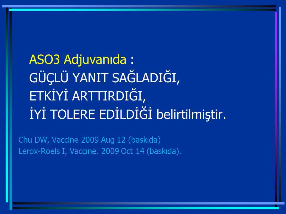 ASO3 Adjuvanıda : GÜÇLÜ YANIT SAĞLADIĞI, ETKİYİ ARTTIRDIĞI, İYİ TOLERE EDİLDİĞİ belirtilmiştir.