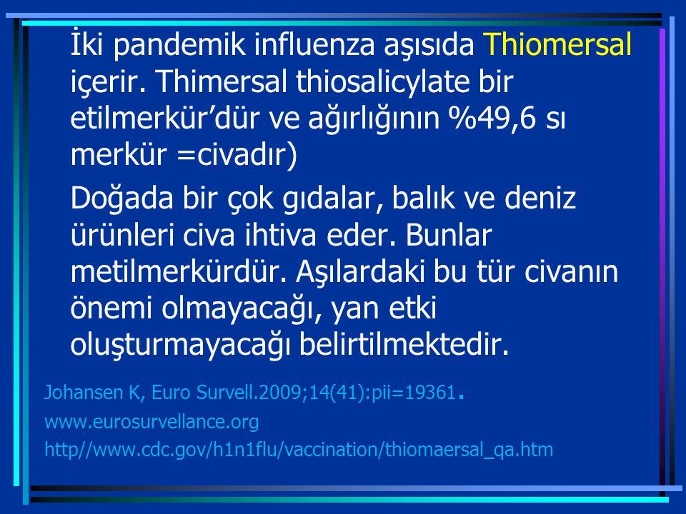 İki pandemik influenza aşısıda Thiomersal içerir.