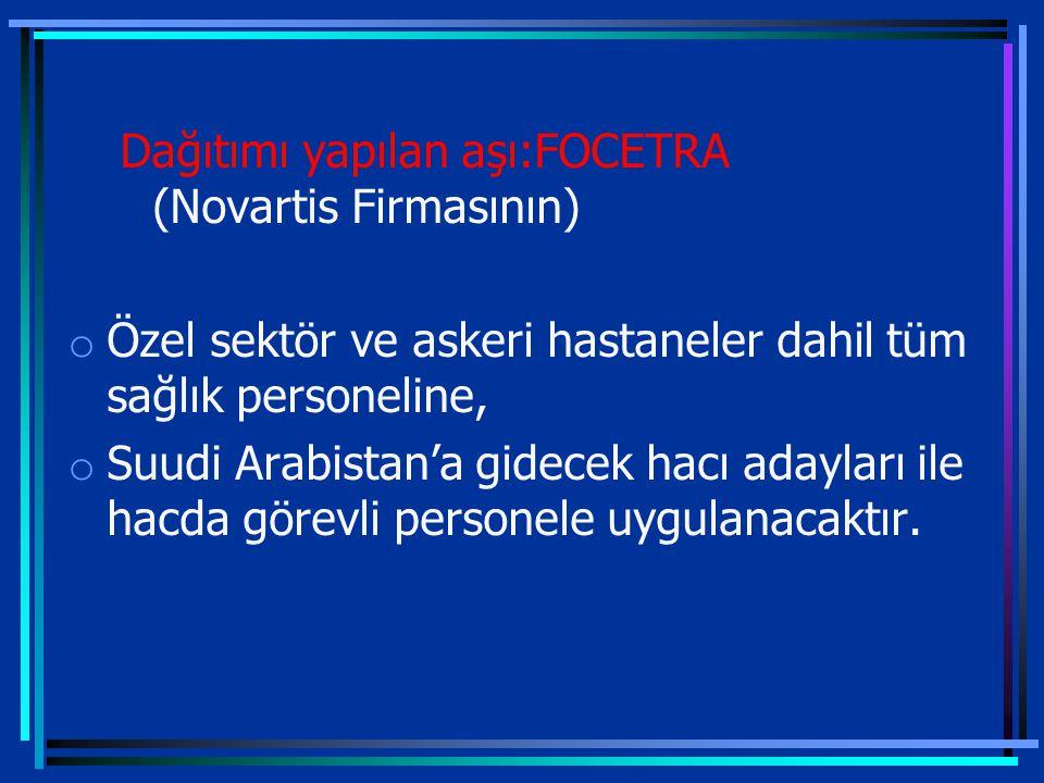 Dağıtımı yapılan aşı:FOCETRA (Novartis Firmasının) o Özel sektör ve askeri hastaneler dahil tüm sağlık personeline, o Suudi Arabistan'a gidecek hacı adayları ile hacda görevli personele uygulanacaktır.