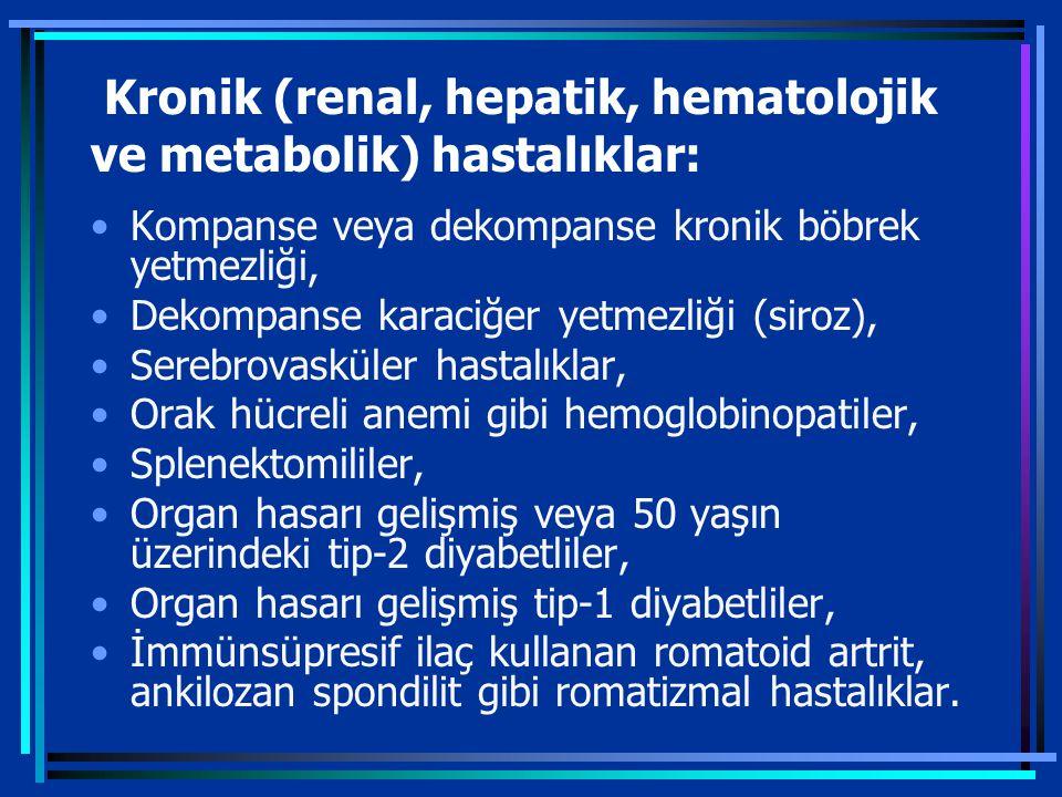 Kronik (renal, hepatik, hematolojik ve metabolik) hastalıklar: Kompanse veya dekompanse kronik böbrek yetmezliği, Dekompanse karaciğer yetmezliği (siroz), Serebrovasküler hastalıklar, Orak hücreli anemi gibi hemoglobinopatiler, Splenektomililer, Organ hasarı gelişmiş veya 50 yaşın üzerindeki tip-2 diyabetliler, Organ hasarı gelişmiş tip-1 diyabetliler, İmmünsüpresif ilaç kullanan romatoid artrit, ankilozan spondilit gibi romatizmal hastalıklar.
