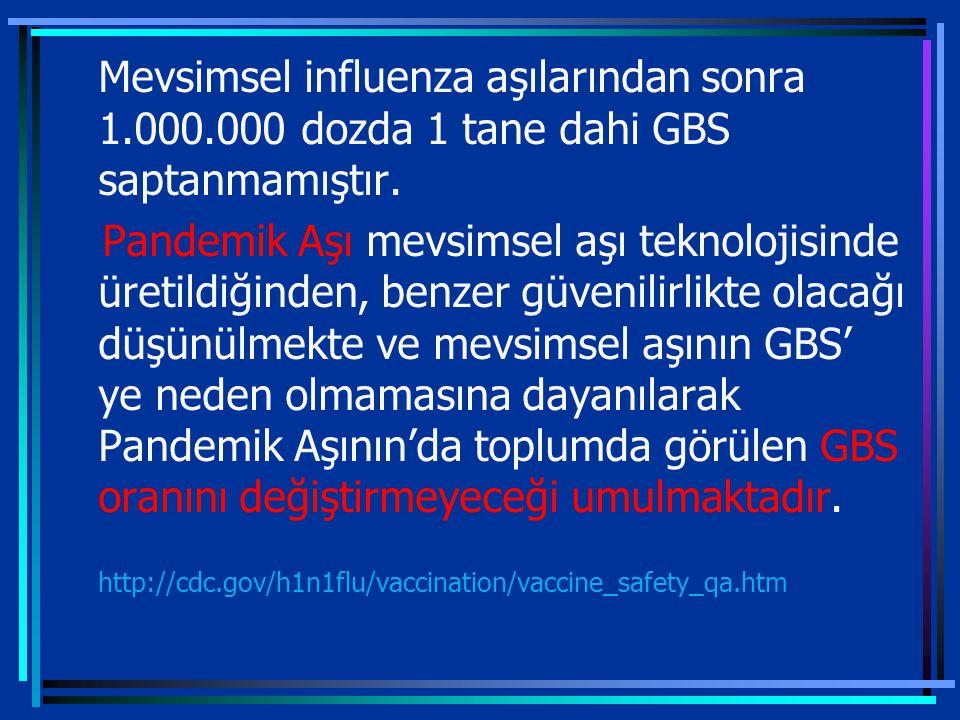 Mevsimsel influenza aşılarından sonra 1.000.000 dozda 1 tane dahi GBS saptanmamıştır.