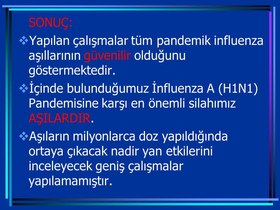 SONUÇ:  Yapılan çalışmalar tüm pandemik influenza aşıllarının güvenilir olduğunu göstermektedir.