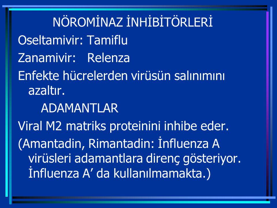 NÖROMİNAZ İNHİBİTÖRLERİ Oseltamivir: Tamiflu Zanamivir: Relenza Enfekte hücrelerden virüsün salınımını azaltır.