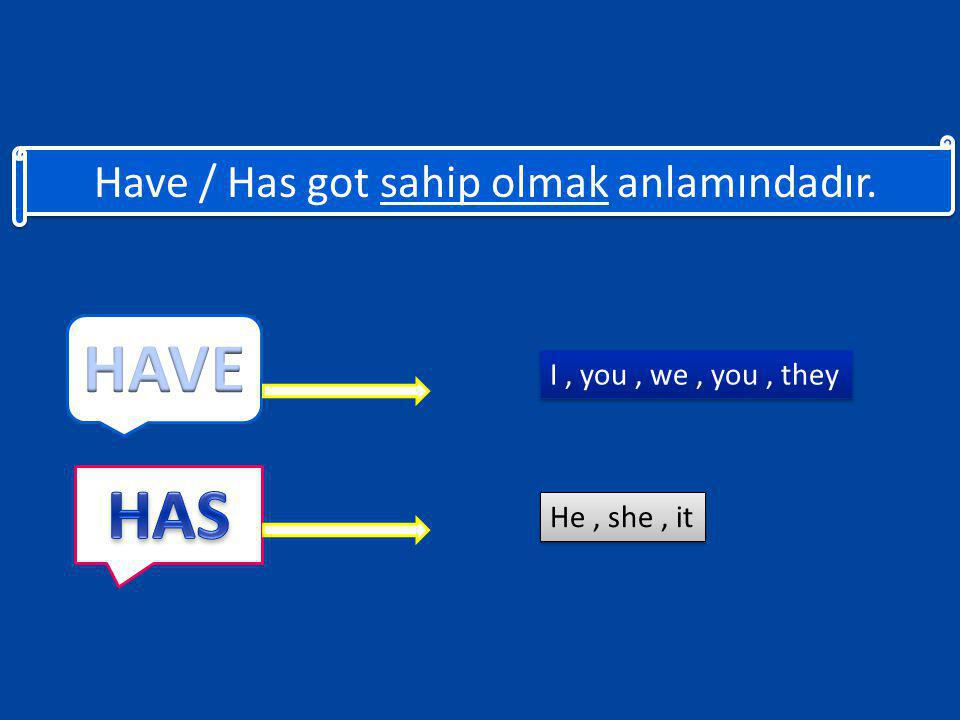 Have / Has got sahip olmak anlamındadır. I, you, we, you, they I, you, we, you, they He, she, it He, she, it
