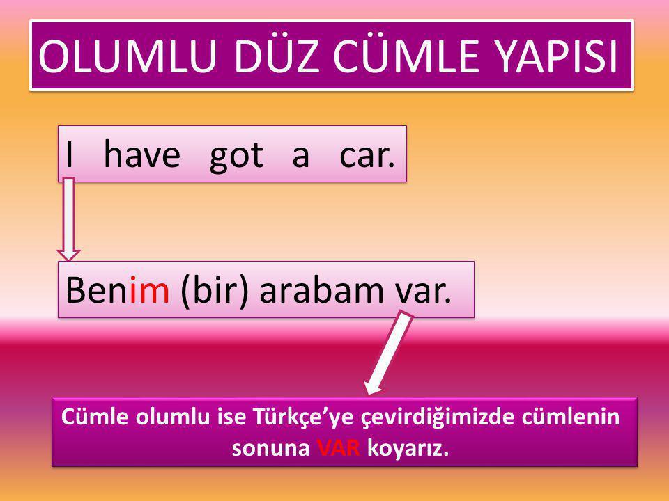 OLUMLU DÜZ CÜMLE YAPISI OLUMLU DÜZ CÜMLE YAPISI I have got a car. Benim (bir) arabam var. Cümle olumlu ise Türkçe'ye çevirdiğimizde cümlenin sonuna VA