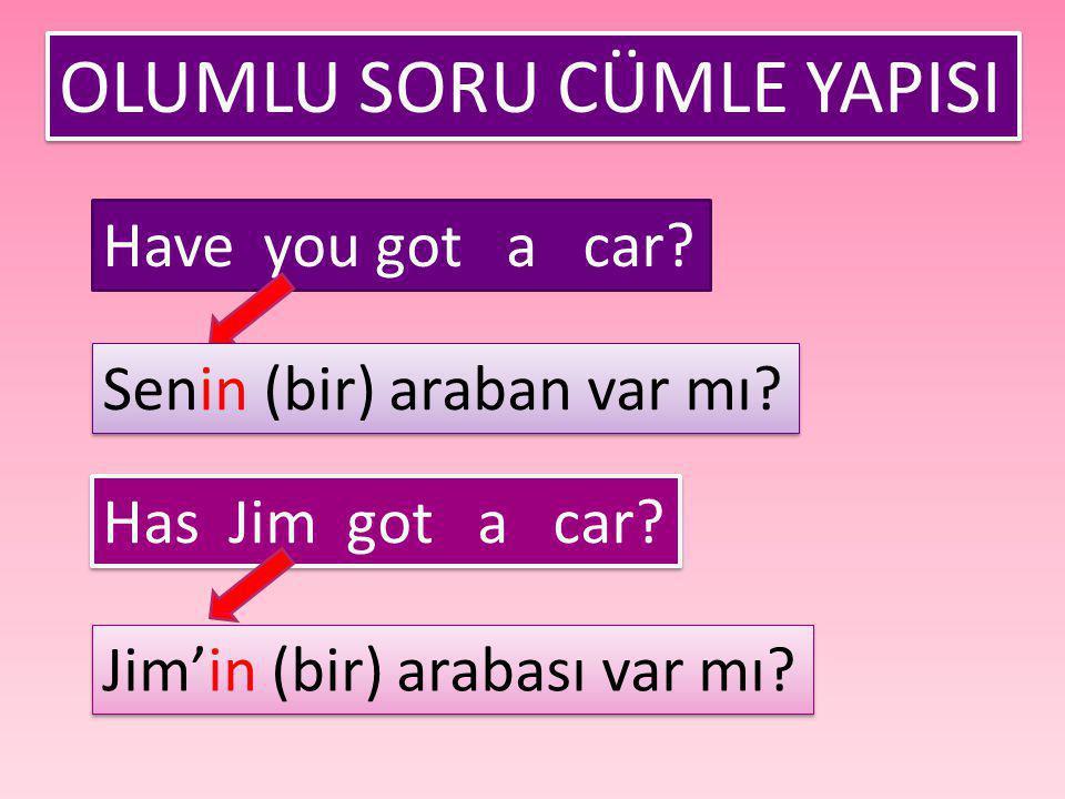 OLUMLU SORU CÜMLE YAPISI Have you got a car? Senin (bir) araban var mı? Has Jim got a car? Jim'in (bir) arabası var mı?