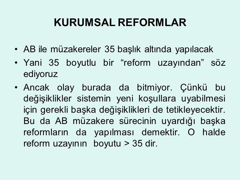 KURUMSAL REFORMLAR AB ile müzakereler 35 başlık altında yapılacak Yani 35 boyutlu bir reform uzayından söz ediyoruz Ancak olay burada da bitmiyor.