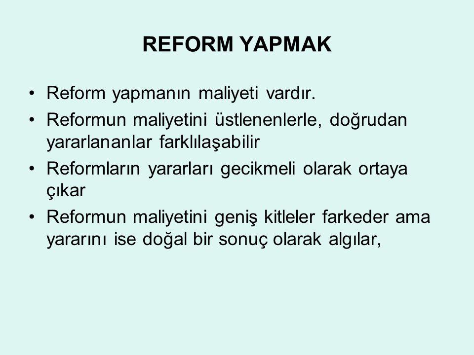 REFORM YAPMAK Reform yapmanın maliyeti vardır.