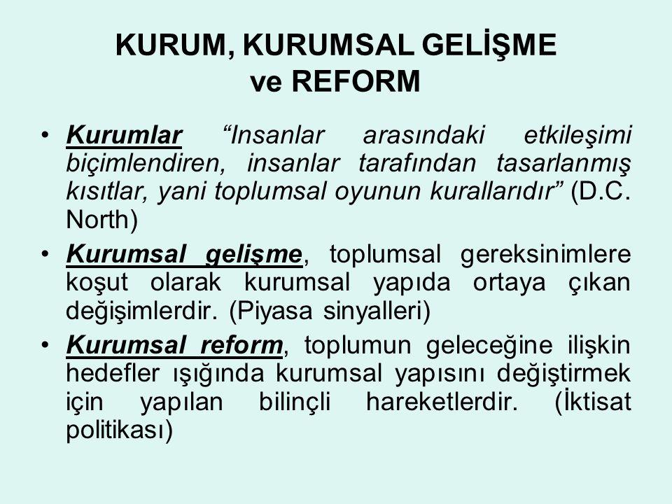 BAZI ORTAK NOKTALAR Mal ve hizmet üretimi için gerekli üretim fonksiyonları veridir Herhangi bir reformun yapılabilmesi için gerekli kaynaklarla sonucu ilişkilendiren reform üretim fonksiyonu veridir.