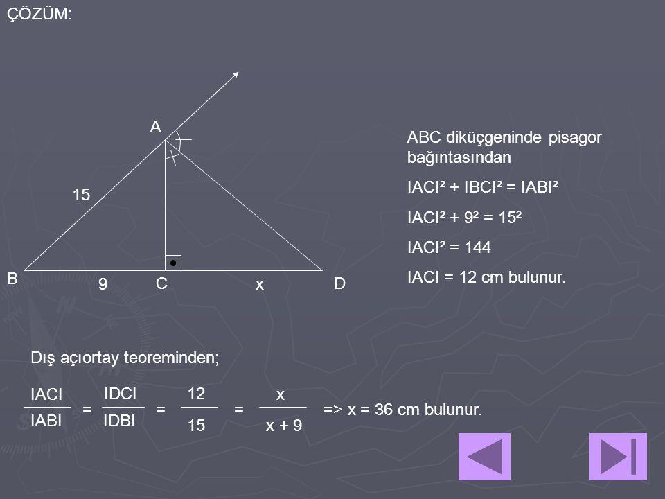 A B CD 15 9x ÇÖZÜM: ABC diküçgeninde pisagor bağıntasından IACI² + IBCI² = IABI² IACI² + 9² = 15² IACI² = 144 IACI = 12 cm bulunur. Dış açıortay teore
