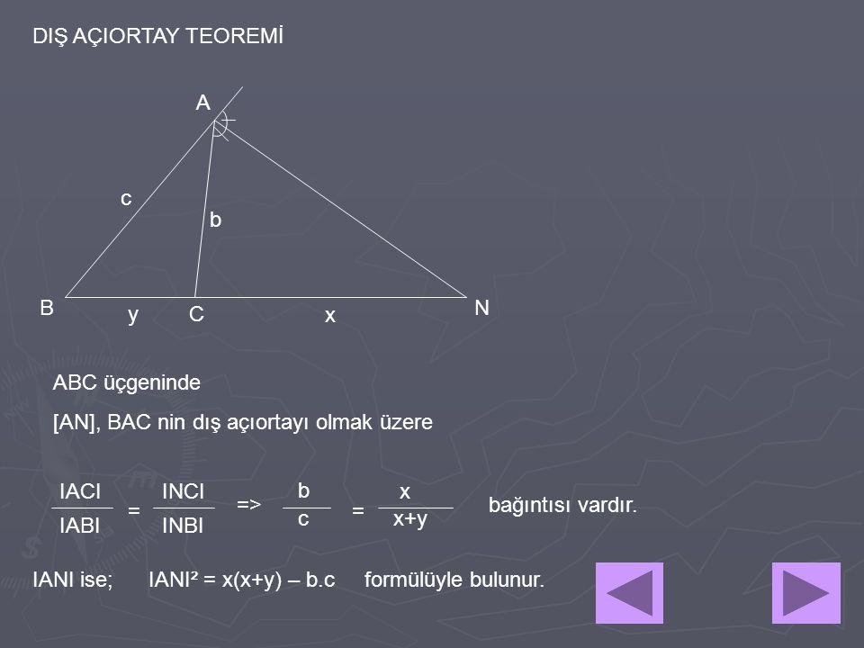 DIŞ AÇIORTAY TEOREMİ b c y A B C N ABC üçgeninde [AN], BAC nin dış açıortayı olmak üzere IACI IABIINBI INCI = => b c x x+y = x IANI² = x(x+y) – b.c fo