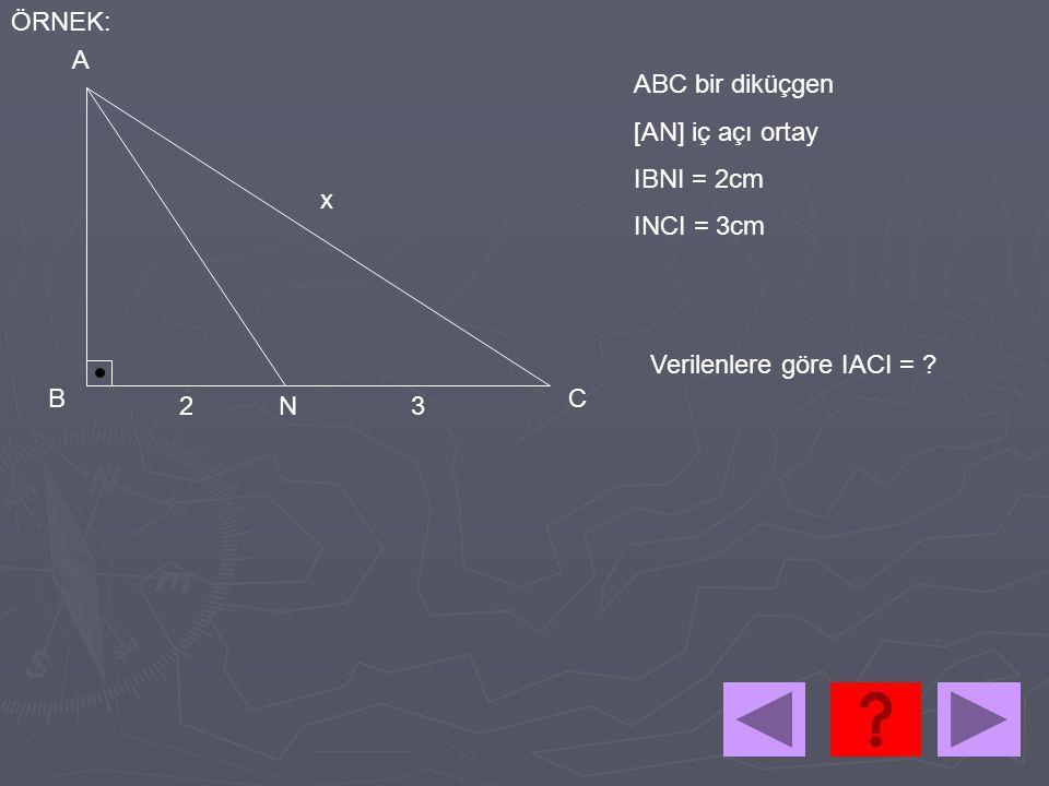 2 3 4 A B C N ÇÖZÜM: x IACI IABI INCI INBI = => 2 3 x x+4 = =>x = 8cm bulunur Dış açıortay ise IANI² = x(x+4) – 2.3 IANI² = 90 IANI = 3√10