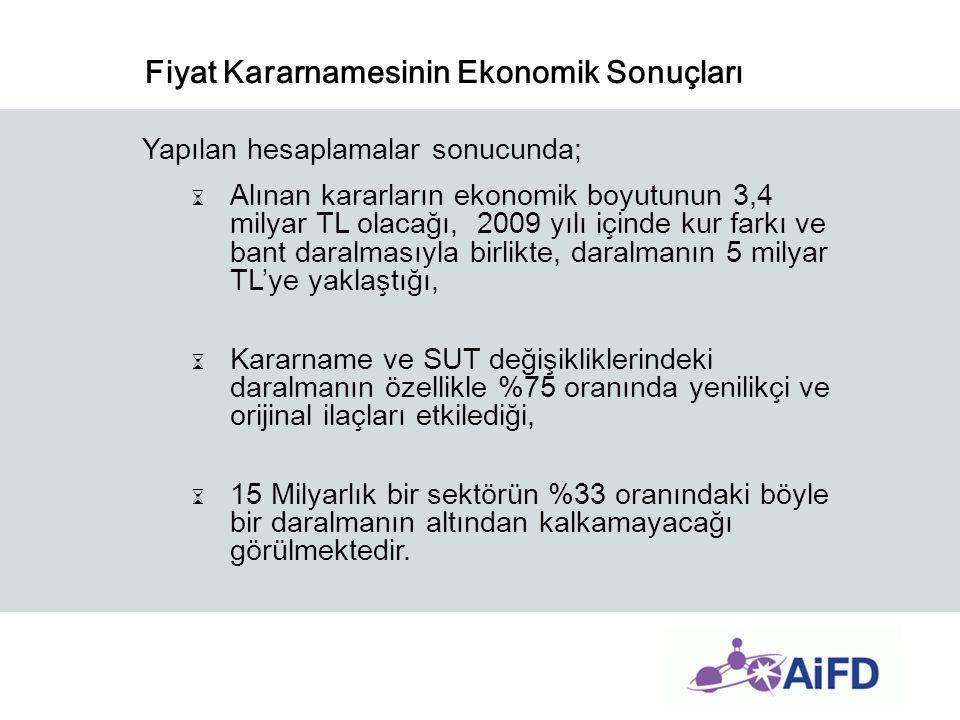 Fiyat Kararnamesinin Ekonomik Sonuçları Yapılan hesaplamalar sonucunda; ⌛ Alınan kararların ekonomik boyutunun 3,4 milyar TL olacağı, 2009 yılı içinde