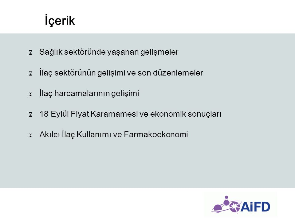 Türkiye'de İlaç Kullanımının Artış Nedeni ⌛Nüfusun yaşlanması ve ortalama yaşam süresinin uzaması, ⌛Sağlık Hizmetlerine erişim ortalamasının 2,6'dan (2002) 6,2'ye (2009) çıkması, ⌛Kronik Hastalık prevalansının dünya ortalamasında olmasına rağmen, farkındalığın düşük olması nedeni ile erişimin artması ile yeni teşhislerin sözkonusu olması, ⌛Yeşil Kart sahiplerinin ayaktan tedavilerde yazılan reçetelerinin de geri ödeme kapsamına alınması, ⌛Aile Hekimliği uygulamasının yaygınlaşması nedeni ile psikolojik talep artışı.