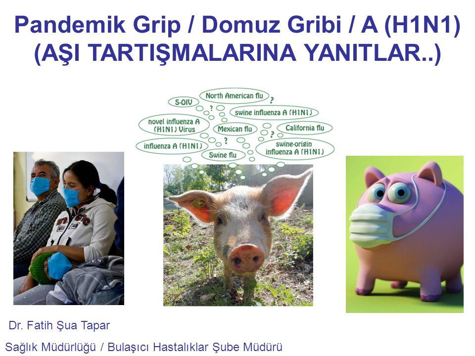 Pandemik Grip / Domuz Gribi / A (H1N1) (AŞI TARTIŞMALARINA YANITLAR..) Dr. Fatih Şua Tapar Sağlık Müdürlüğü / Bulaşıcı Hastalıklar Şube Müdürü