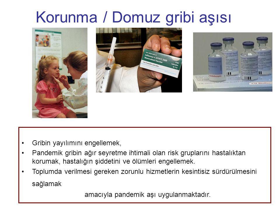 Korunma / Domuz gribi aşısı Gribin yayılımını engellemek, Pandemik gribin ağır seyretme ihtimali olan risk gruplarını hastalıktan korumak, hastalığın