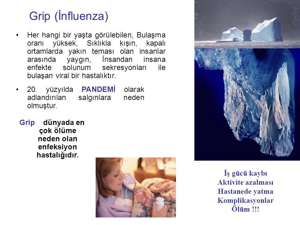 Grip (İnfluenza) Her hangi bir yaşta görülebilen, Bulaşma oranı yüksek, Sıklıkla kışın, kapalı ortamlarda yakın teması olan insanlar arasında yaygın,