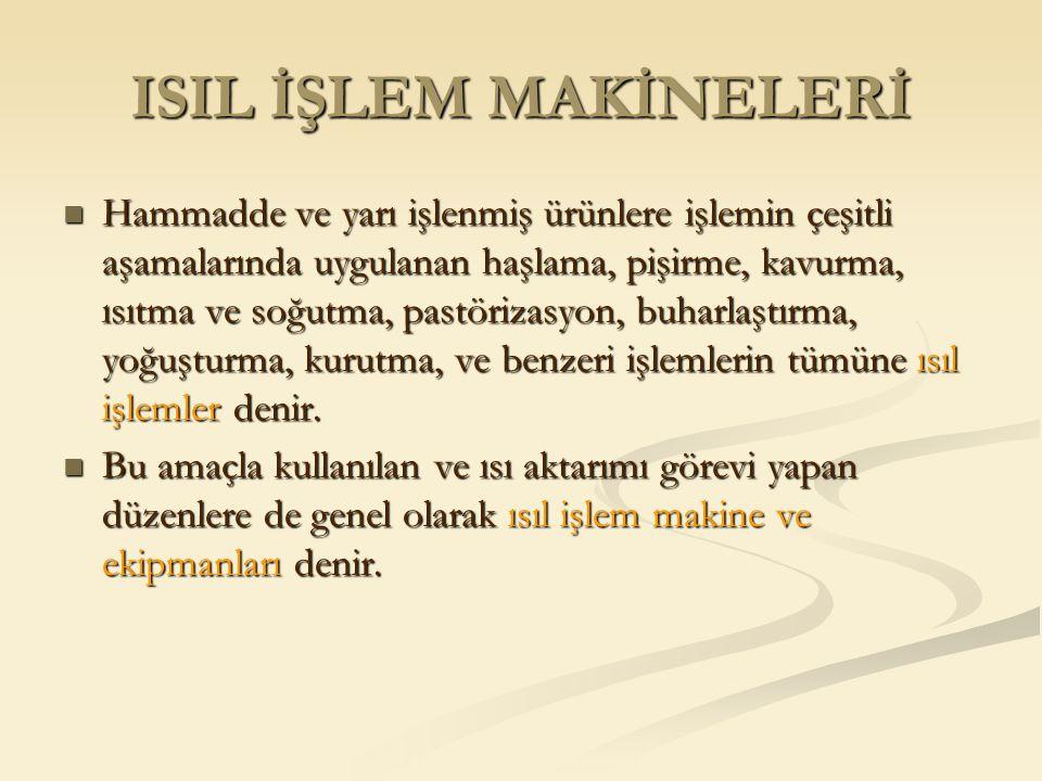 ISIL İŞLEM MAKİNELERİ Hammadde ve yarı işlenmiş ürünlere işlemin çeşitli aşamalarında uygulanan haşlama, pişirme, kavurma, ısıtma ve soğutma, pastöriz