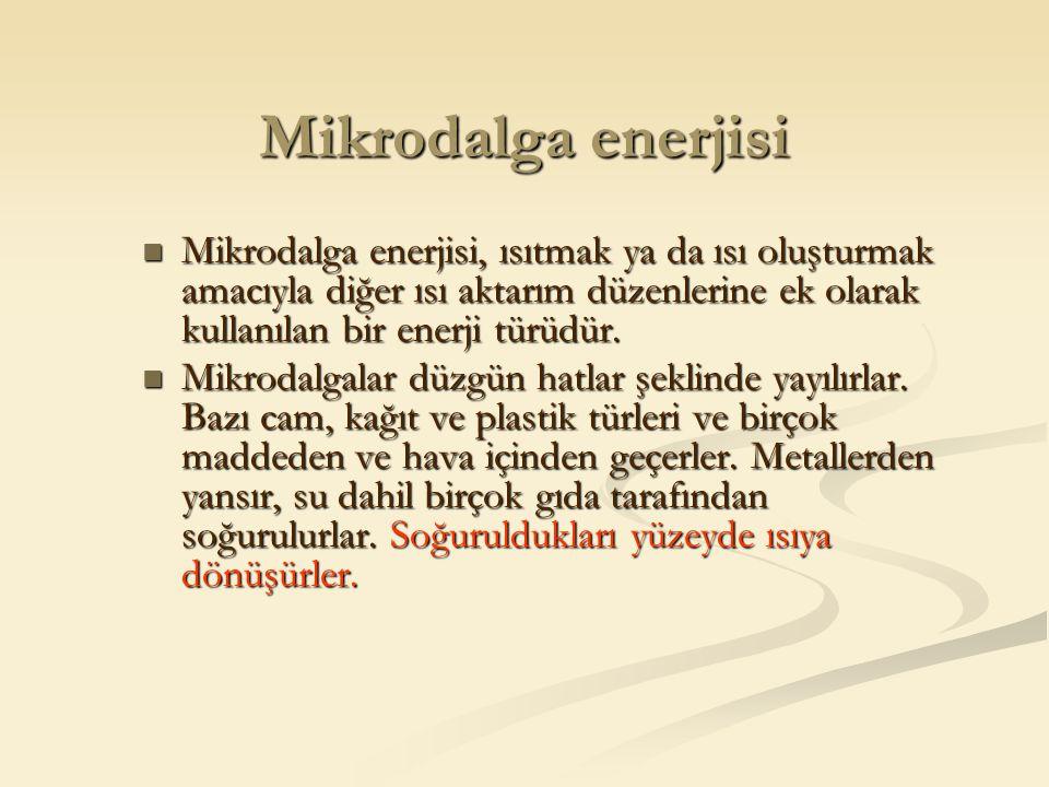 Mikrodalga enerjisi Mikrodalga enerjisi, ısıtmak ya da ısı oluşturmak amacıyla diğer ısı aktarım düzenlerine ek olarak kullanılan bir enerji türüdür.