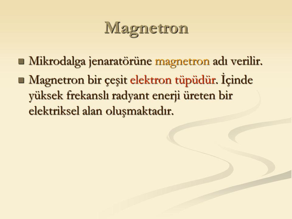 Magnetron Mikrodalga jenaratörüne magnetron adı verilir. Mikrodalga jenaratörüne magnetron adı verilir. Magnetron bir çeşit elektron tüpüdür. İçinde y