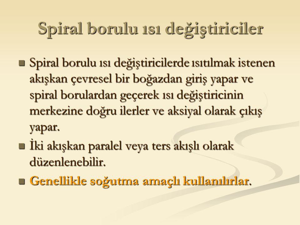 Spiral borulu ısı değiştiriciler Spiral borulu ısı değiştiricilerde ısıtılmak istenen akışkan çevresel bir boğazdan giriş yapar ve spiral borulardan g