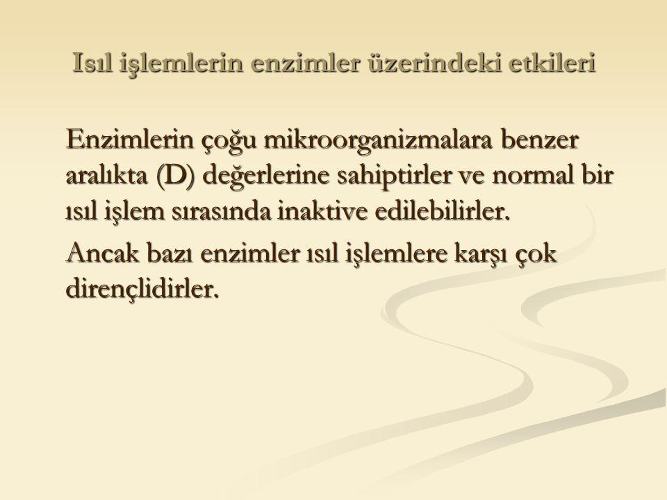 Isıl işlemlerin enzimler üzerindeki etkileri Enzimlerin çoğu mikroorganizmalara benzer aralıkta (D) değerlerine sahiptirler ve normal bir ısıl işlem s
