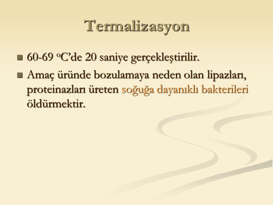 Termalizasyon 60-69 o C'de 20 saniye gerçekleştirilir. 60-69 o C'de 20 saniye gerçekleştirilir. Amaç üründe bozulamaya neden olan lipazları, proteinaz