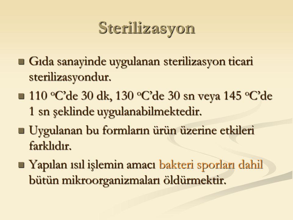 Sterilizasyon Gıda sanayinde uygulanan sterilizasyon ticari sterilizasyondur. Gıda sanayinde uygulanan sterilizasyon ticari sterilizasyondur. 110 o C'