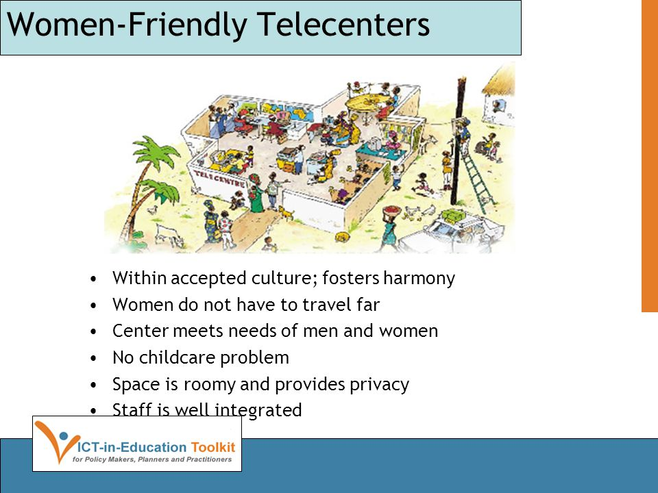 Women-Friendly Telecenters Within accepted culture; fosters harmony Women do not have to travel far Center meets needs of men and women No childcare problem Space is roomy and provides privacy Staff is well integrated
