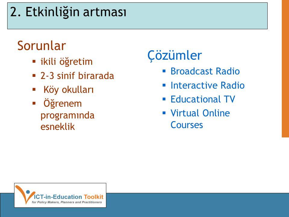 2. Etkinliğin artması Sorunlar  ikili öğretim  2-3 sinif birarada  Köy okulları  Öğrenem programında esneklik Çözümler  Broadcast Radio  Interac