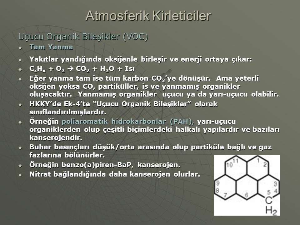 Uçucu Organik Bileşikler (VOC)  Tam Yanma  Yakıtlar yandığında oksijenle birleşir ve enerji ortaya çıkar:  C x H x + O 2  CO 2 + H 2 O + Isı  Eğe