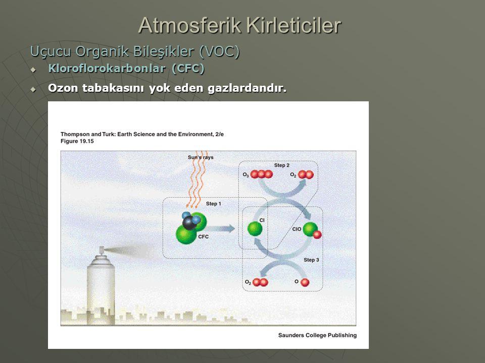Uçucu Organik Bileşikler (VOC)  Kloroflorokarbonlar (CFC)  Ozon tabakasını yok eden gazlardandır. Atmosferik Kirleticiler