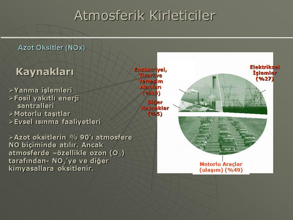 Kaynakları  Yanma işlemleri  Fosil yakıtlı enerji santralleri santralleri  Motorlu taşıtlar  Evsel ısınma faaliyetleri  Azot oksitlerin % 90'ı at