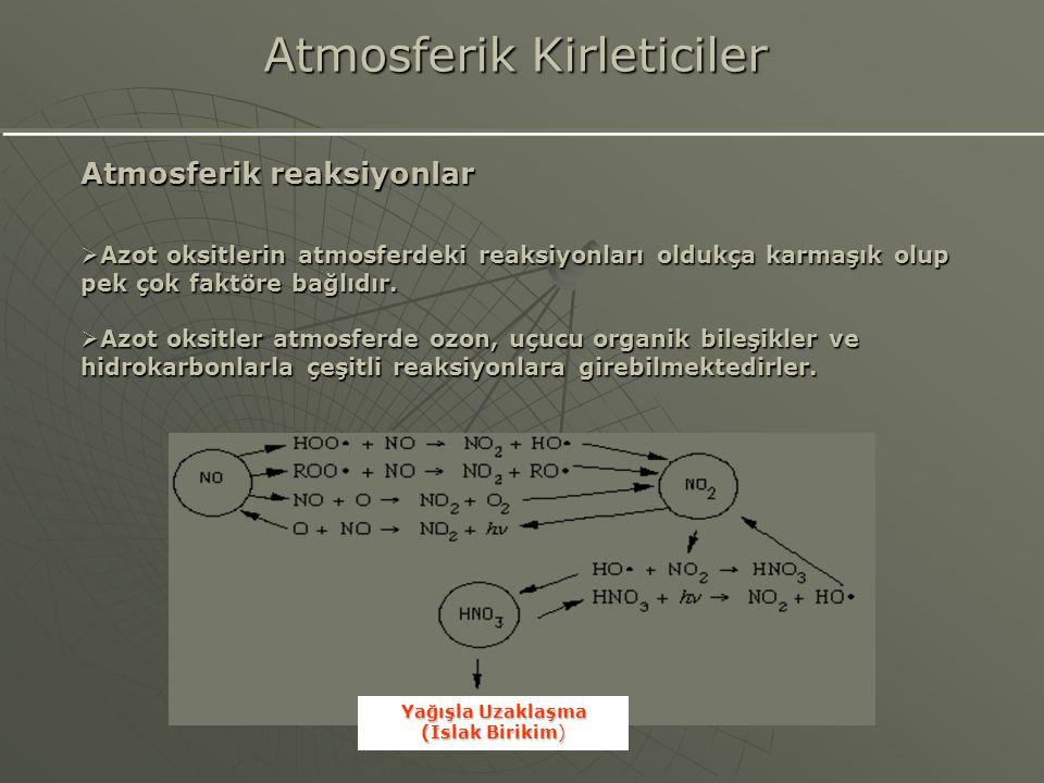 Atmosferik reaksiyonlar  Azot oksitlerin atmosferdeki reaksiyonları oldukça karmaşık olup pek çok faktöre bağlıdır.  Azot oksitler atmosferde ozon,