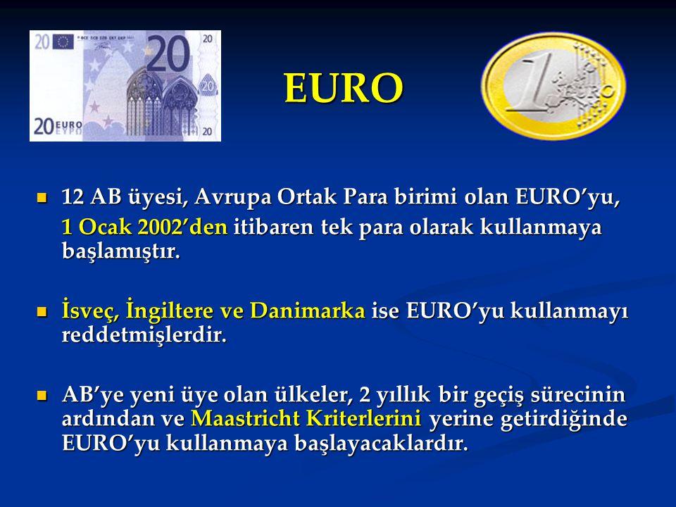 EURO 12 AB üyesi, Avrupa Ortak Para birimi olan EURO'yu, 12 AB üyesi, Avrupa Ortak Para birimi olan EURO'yu, 1 Ocak 2002'den itibaren tek para olarak