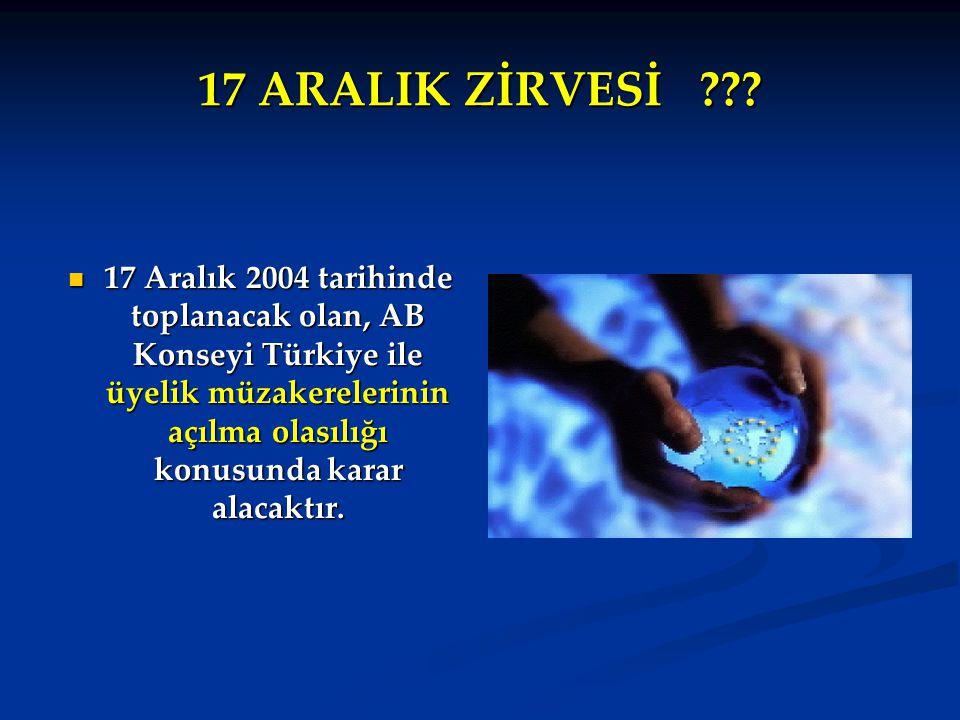 17 ARALIK ZİRVESİ ??? 17 Aralık 2004 tarihinde toplanacak olan, AB Konseyi Türkiye ile üyelik müzakerelerinin açılma olasılığı konusunda karar alacakt