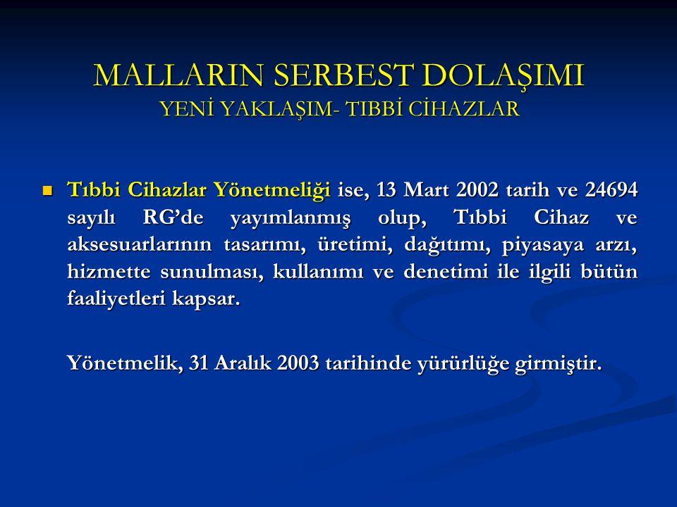 MALLARIN SERBEST DOLAŞIMI YENİ YAKLAŞIM- TIBBİ CİHAZLAR Tıbbi Cihazlar Yönetmeliği ise, 13 Mart 2002 tarih ve 24694 sayılı RG'de yayımlanmış olup, Tıb