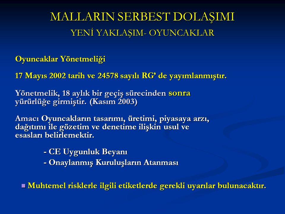 MALLARIN SERBEST DOLAŞIMI YENİ YAKLAŞIM- OYUNCAKLAR Oyuncaklar Yönetmeliği 17 Mayıs 2002 tarih ve 24578 sayılı RG' de yayımlanmıştır. Yönetmelik, 18 a