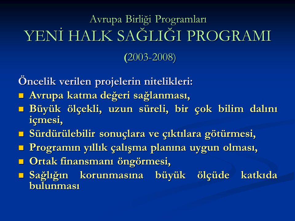 Avrupa Birliği Programları YENİ HALK SAĞLIĞI PROGRAMI (2003-2008) Öncelik verilen projelerin nitelikleri: Avrupa katma değeri sağlanması, Avrupa katma