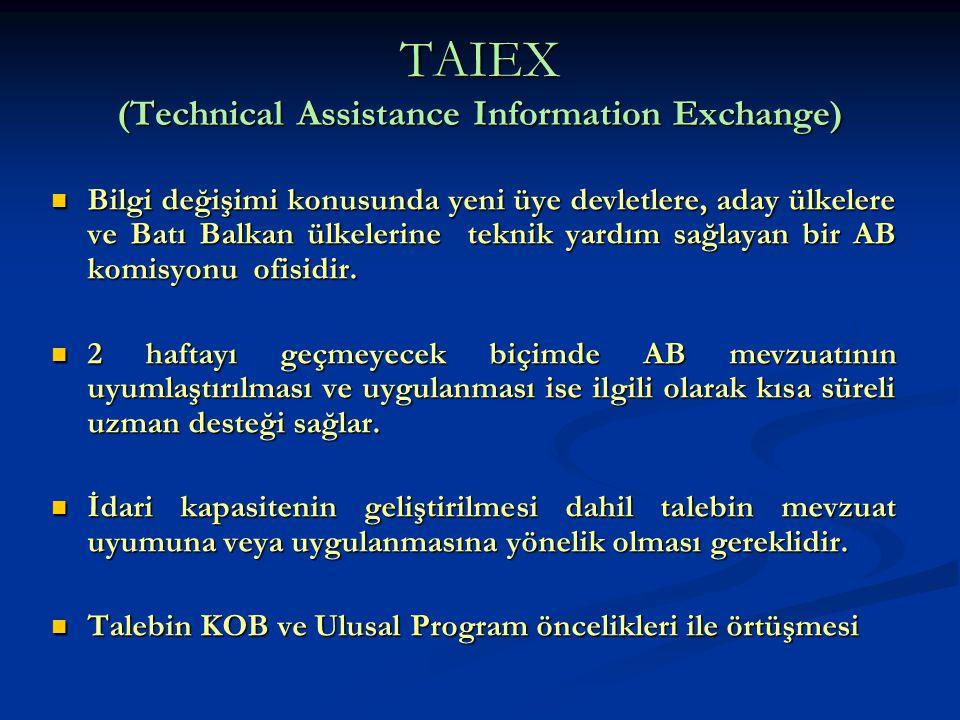 TAIEX (Technical Assistance Information Exchange) Bilgi değişimi konusunda yeni üye devletlere, aday ülkelere ve Batı Balkan ülkelerine teknik yardım