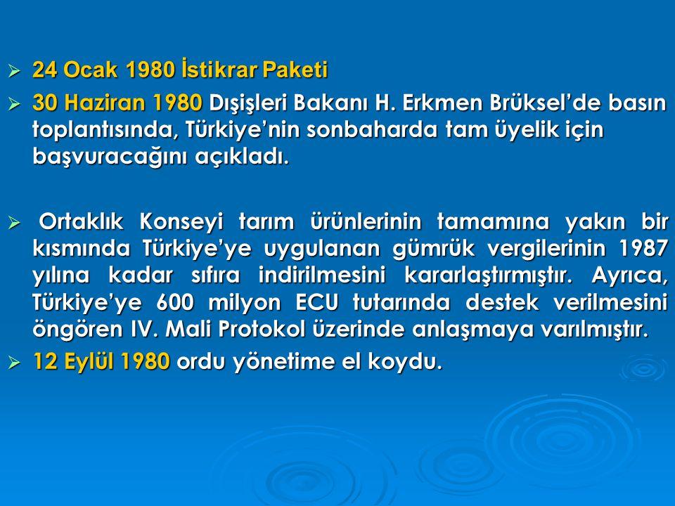  22 Ocak 1982 AT ilişkileri dondurdu. 26 Kasım 1983 Türkiye'de seçimler yapılmıştır.