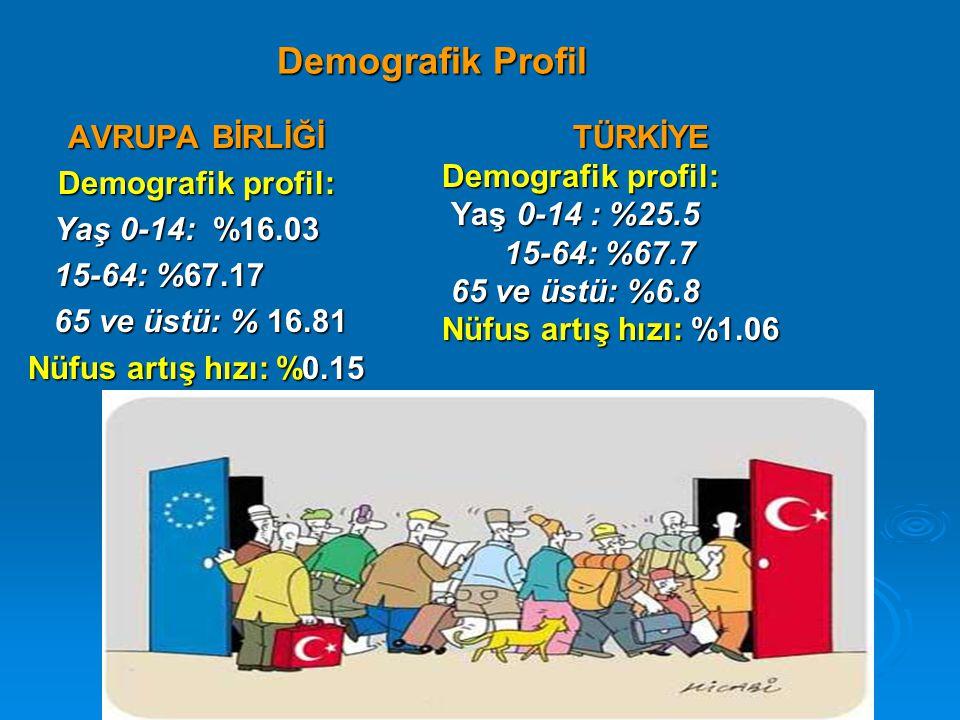 Nüfus: Türkiye, AB 25, AB 28 Nüfus: Türkiye, AB 25, AB 28 (Bin) 2003 2015 2025 Türkiye713258215088995 AB 25454187456876454422 AB 28 ( Türkiye dahil)555743567842570832 Türkiye'nin AB 28 içindeki payı 12.8%14.5%15.6% Kaynak: UN World Population Division: World Population Prospects: the 2002 Revision