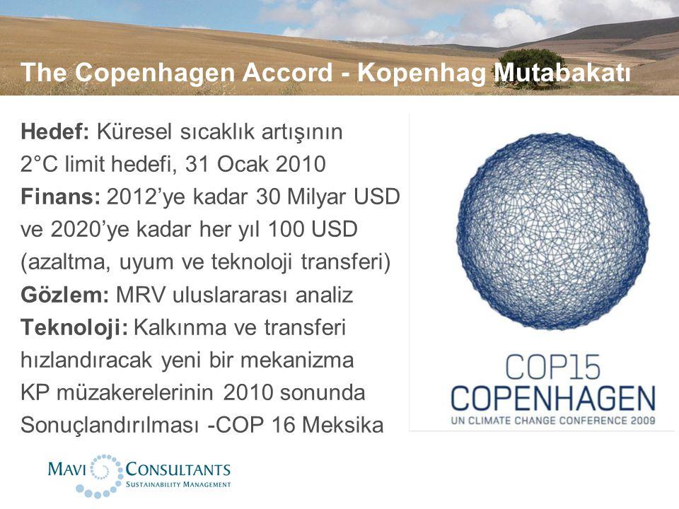 The Copenhagen Accord - Kopenhag Mutabakatı Hedef: Küresel sıcaklık artışının 2°C limit hedefi, 31 Ocak 2010 Finans: 2012'ye kadar 30 Milyar USD ve 20