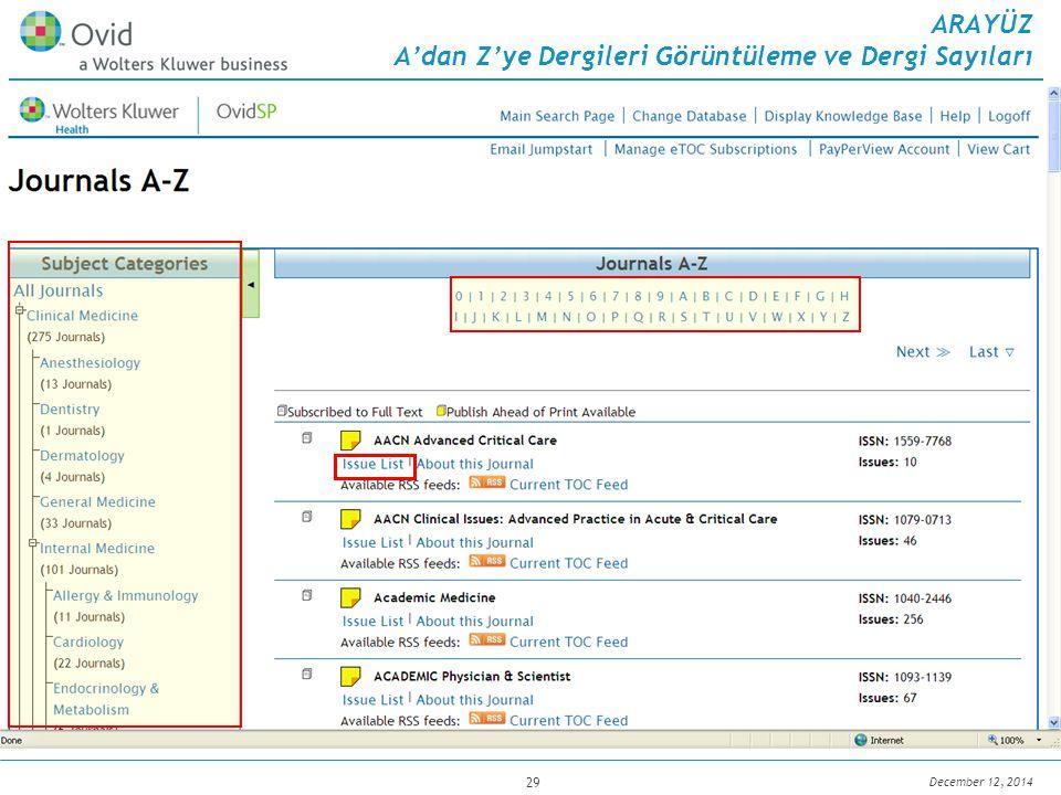 December 12, 2014 29 ARAYÜZ A'dan Z'ye Dergileri Görüntüleme ve Dergi Sayıları