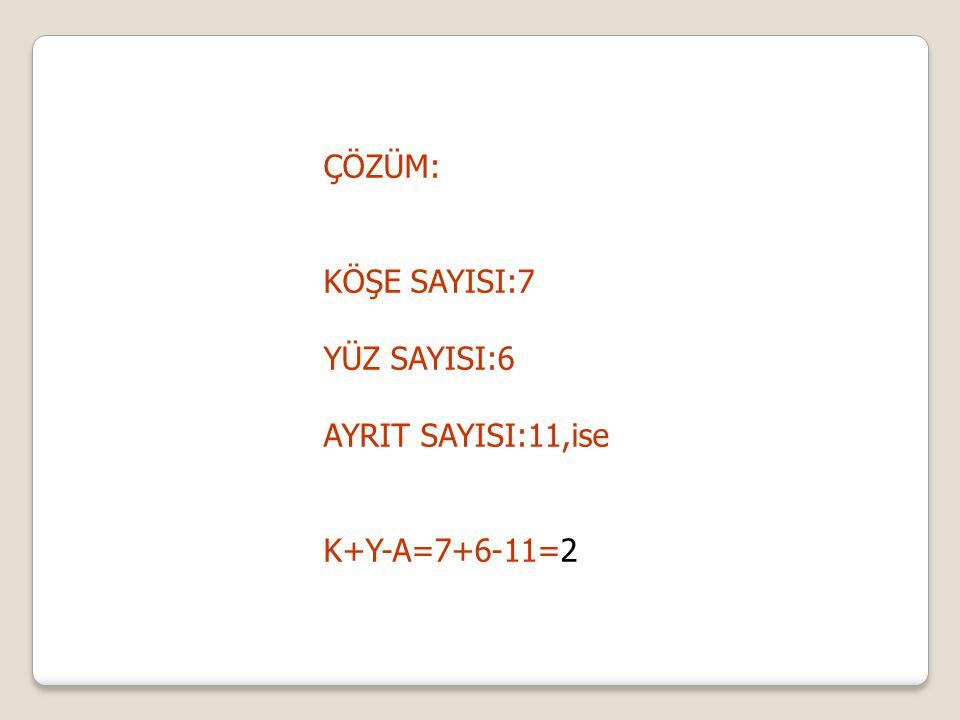 ÇÖZÜM: KÖŞE SAYISI:7 YÜZ SAYISI:6 AYRIT SAYISI:11,ise K+Y-A=7+6-11=2